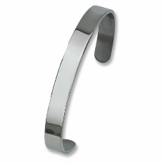 Engraved Stainless Steel Polished Chisel Cuff Bracelet