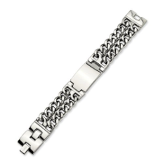 Engraved Men's Stainless Steel Chisel ID Bracelet