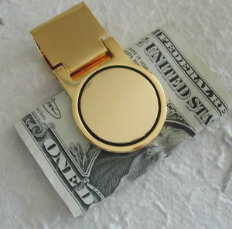 Engraved Gold Tone Round Money Clip