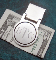 Engraved Nickel Finish Round Money Clip