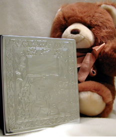 Engraved Teddy Bear With Flowers Photo Album