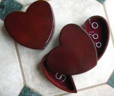 Engraved Rosewood Heart Jewelry Box