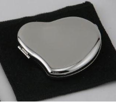 Engraved Silver Plated Free-form Heart Compact Mirror