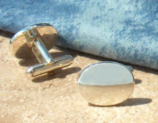 Engraved Silver Plated Oval Cuff Links