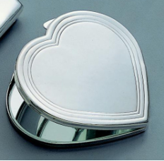 Engraved Silver Plated Silhouette Heart Compact Mirror