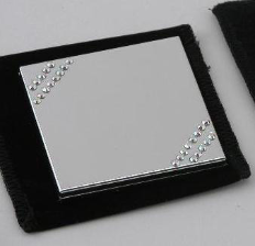 Engraved Silver Plated Square Compact Mirror with Crystals