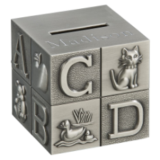 Engraved Matte Finish Alphabet Block Bank