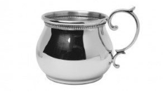 Engraved Pewter Bulged  Baby Cup With Scroll Handle