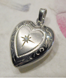 Engraved Petite 14k Gold Diamond Heart Locket