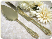 Engraved Gold Plated Cake Server Set