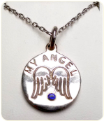 Icerok Angel Wings Birthstone Disc Necklace