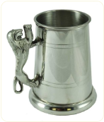 Engraved Lion Handle Pewter Beer Stein Tankard 17 oz.