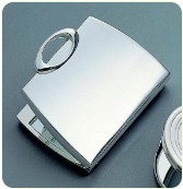 Engraved Silver Plated Purse Compact Mirror