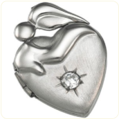 Engraved Sterling Silver Mother's Devotion Locket with Cubic Zirconia