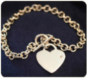 Engraved Sterling Silver Heart Tag Toggle Bracelet with Diamond