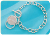 Sterling Silver Diamond Round Tag Bracelet