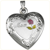 Engraved Sterling Silver Heart-Shaped Mom Locket