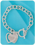 Sterling Silver Diamond Heart Tag Bracelet