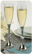 Engraved Wedding Toasting Flutes With Crystal Hearts
