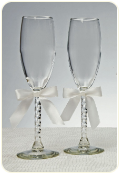 Engraved Wedding Toasting Flutes With Sculpted Stem