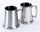 Engraved Brushed Pewter Beer Tankard 16 Oz