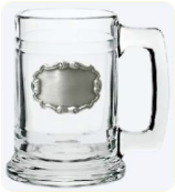 Mug with Pewter Scroll Pattern Plate