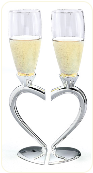 Heart Silver Toasting flutes
