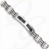 Engraved Polished Stainless Steel and Black Carbon Fiber Chisel ID Bracelet