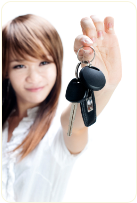 woman with car keychain