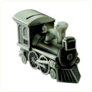 Engraved Matte Finish Train Bank