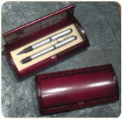 Engraved Pen Set In Mahogany Box