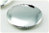 Engraved Large Silver Plated Round Compact Mirror