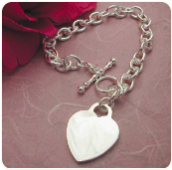Engraved 7 Inch Sterling Silver Heart Tag Bracelet