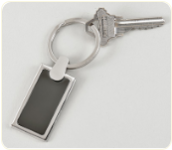 Engravable Rectangle Key Chain w/Gun Metal