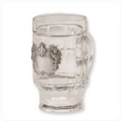 Mug with Pewter Lion Scroll Pattern Plate