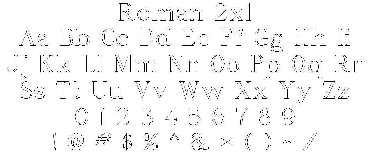 Roman 2x1 Font Style