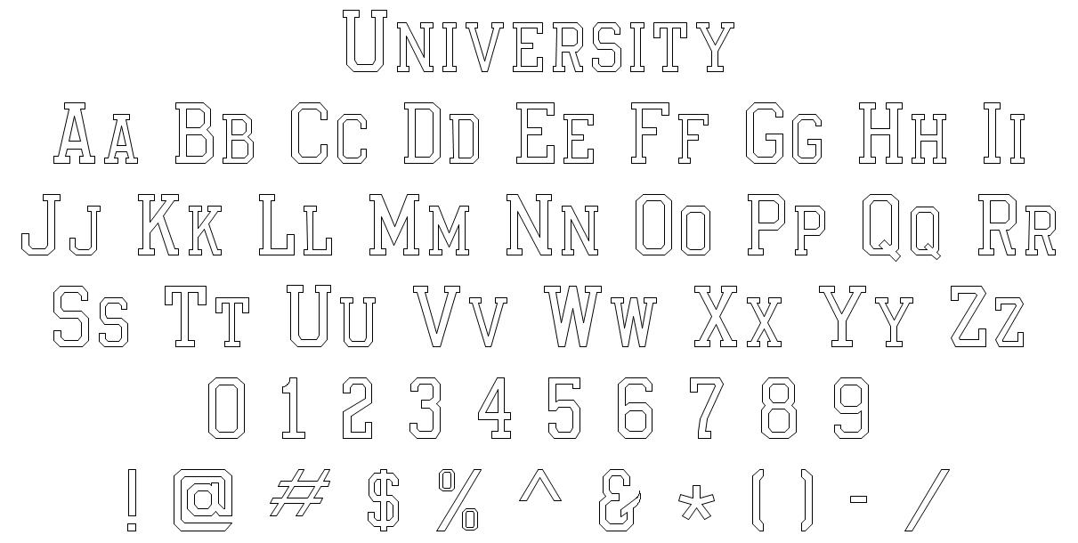 EngravingShop.com University Font Style
