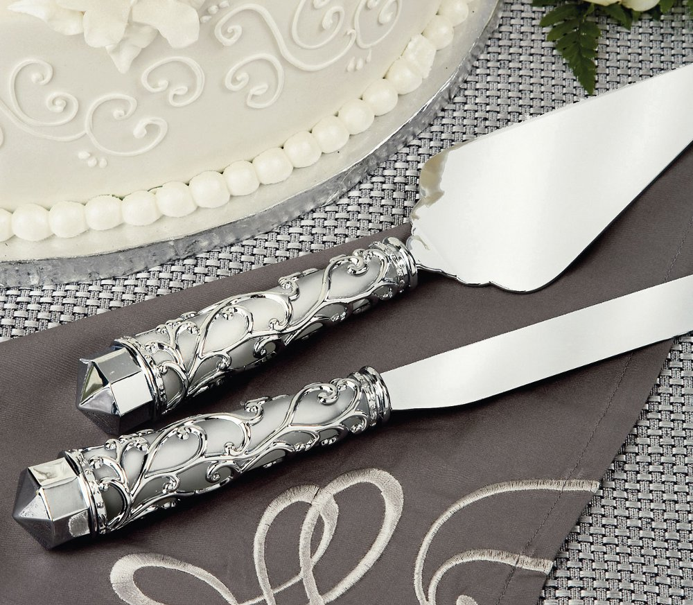Cake Knife And Server This Unique Angle Silver Tipped Cake Server Set