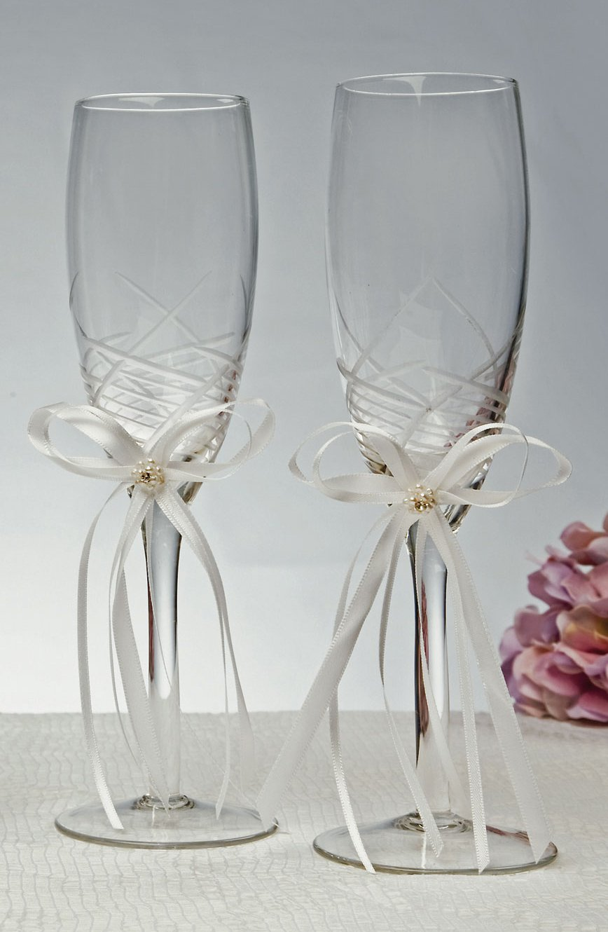 engraved swiss dot wedding toasting flutes