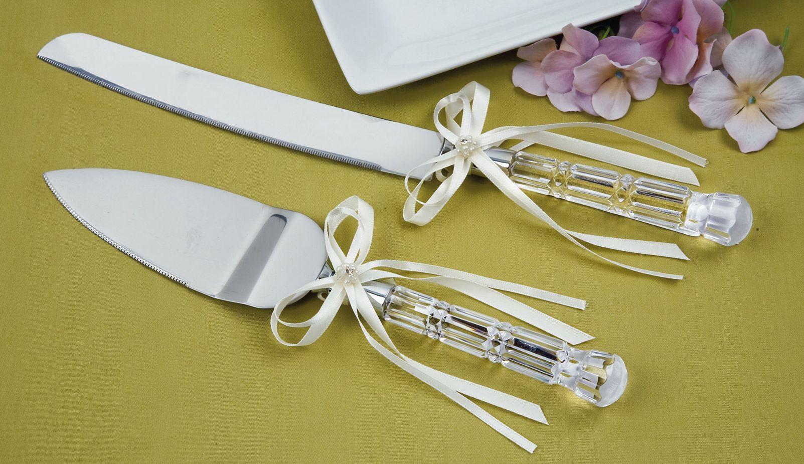 Engraved Silver Cake Knife Server Set Wedding Gifts